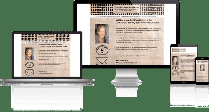 Vorschau der Desktop, Notebook, Tablet und Mobil Webseite von Psychotherapie Cavicchia