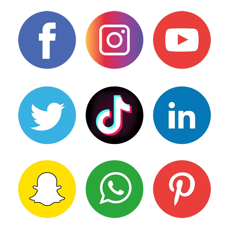 Icons der unterschiedlichen Social Media Plattformen